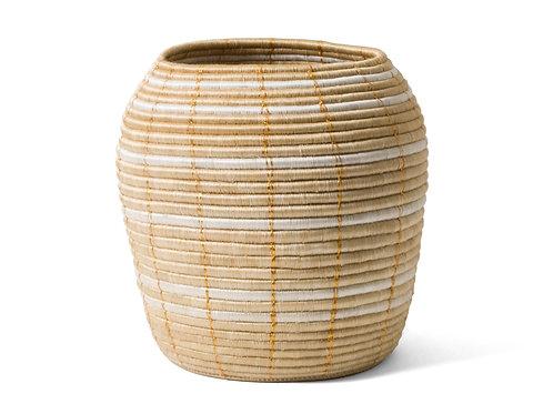 "Gold Stitched Floor Basket 15"" x 15"""