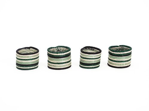 Ivy Striped Napkin Rings (Set of 4)