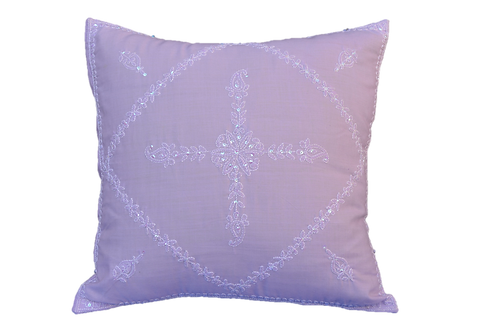 Hand Embroidered Sequins Decorative Lavender  Throw Pillow