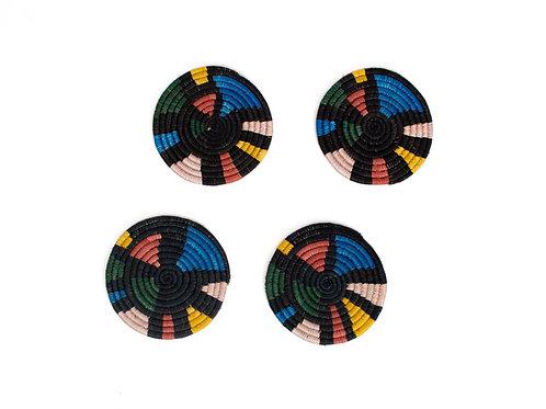Black + Neon Mosaic Coasters (Set of 4)