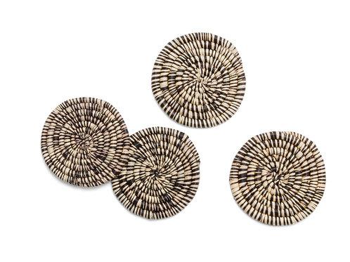 Heathered Black + Natural Raffia Coasters (Set of 4)
