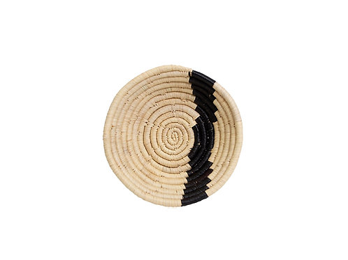 """Black + Natural Striped Round Basket 6"""" Small"""