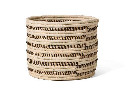 """Striped Black + Natural Storage Basket I 10"""" x 8"""""""