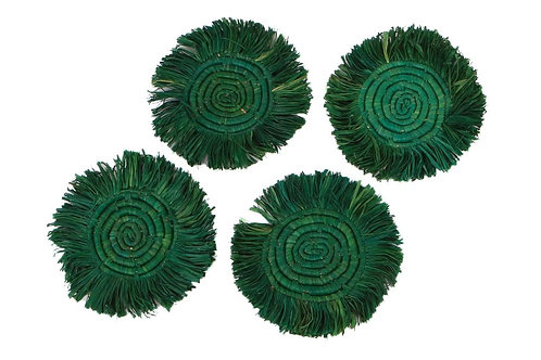 Evergreen Fringed Raffia Coasters (Set of 4)