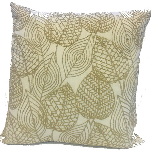 """""""Leafly"""" Embroidered 20"""" Throw Pillow Covers (Set of 2)"""