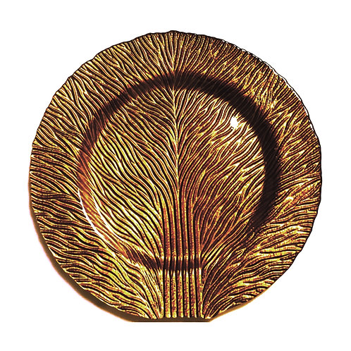 "Tree of Life 11"" Gold Brown Dinner Plates, Set of 2"