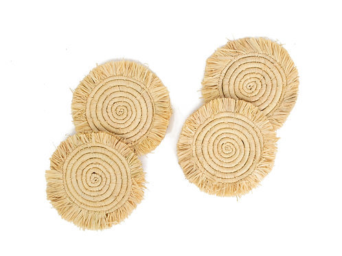Fringed Natural Coasters (Set of 4)