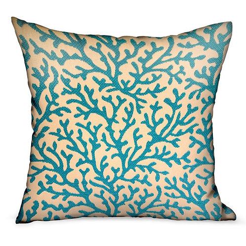 Marlin Vines Blue, Cream Floral Luxury Throw Pillow