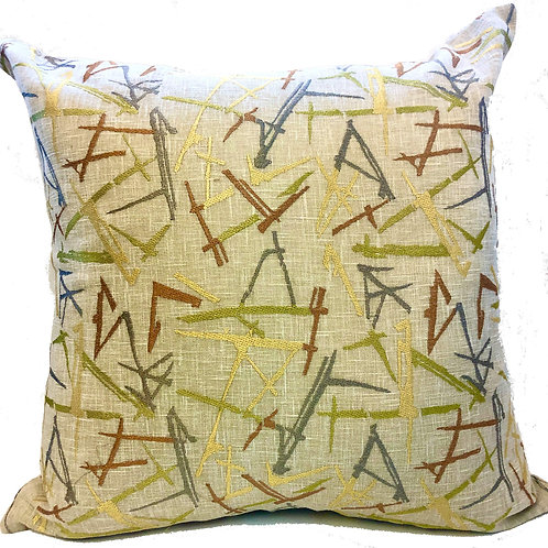 """""""Acute"""" Embroidered 20"""" Throw Pillow Covers (Set of 2)"""