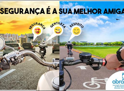 Abraciclo lança campanha de conscientização para motociclistas e ciclistas nas redes sociais