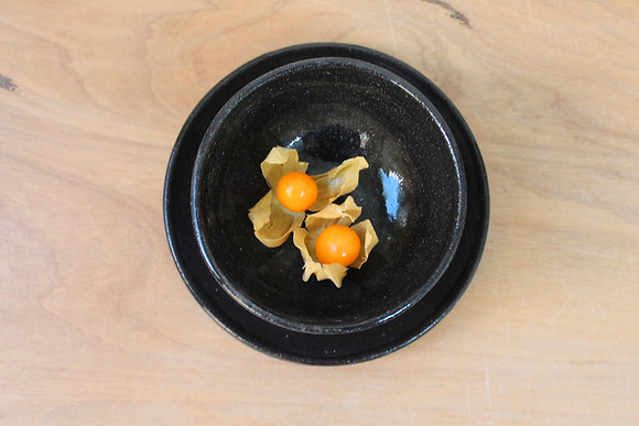 Conjunto de pratinhos e mini bowls - marrom