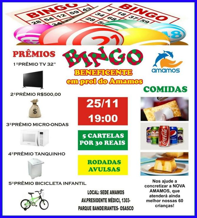 Venha participar do Bingo Beneficente da Amamos do mês de Novembro!