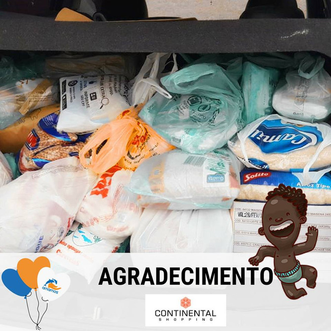 Arrecadação de alimentos para a Amamos no evento do Continental Shopping