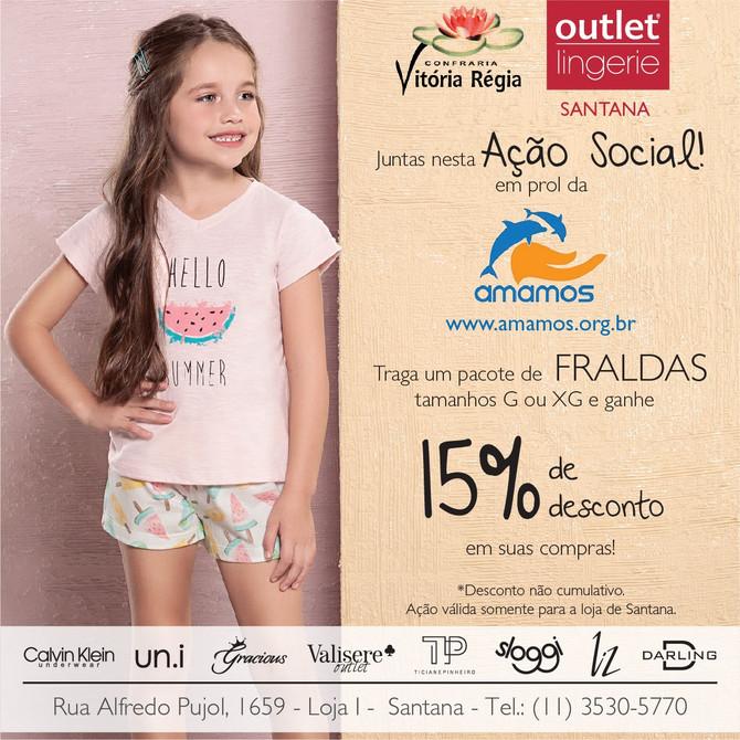Ganhe 15% de desconto em compras na Outlet Lingerie e ainda ajude a Amamos!