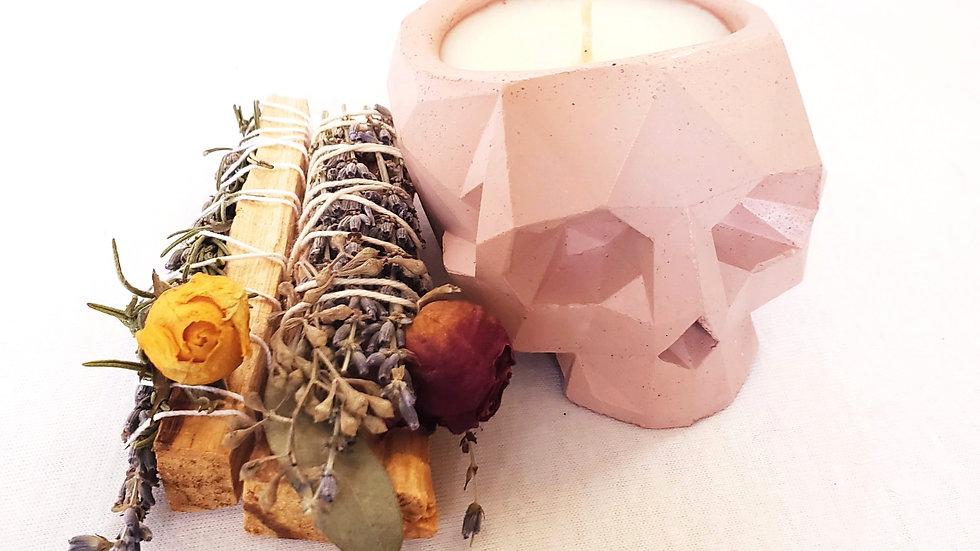 Geometric Skull Candle - Blush