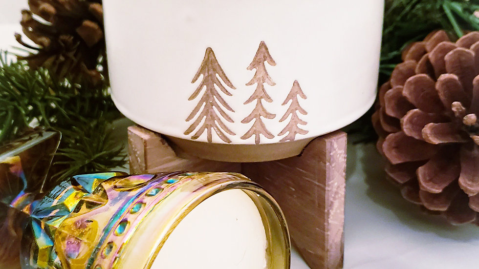 White Pine Tree Ceramic w/ Wood Stand