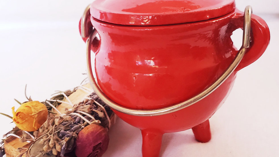 Cast Iron Cauldron Candle- Red