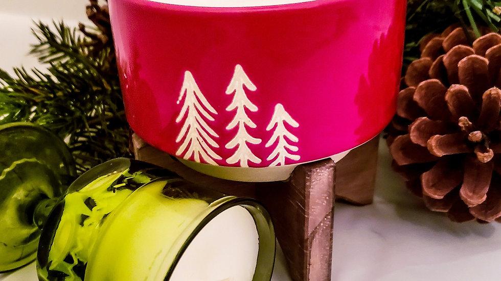 Red Pine Tree Ceramic w/ Wood Stand