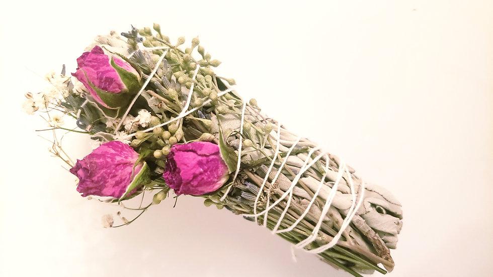 White Sage Floral Smudge Stick