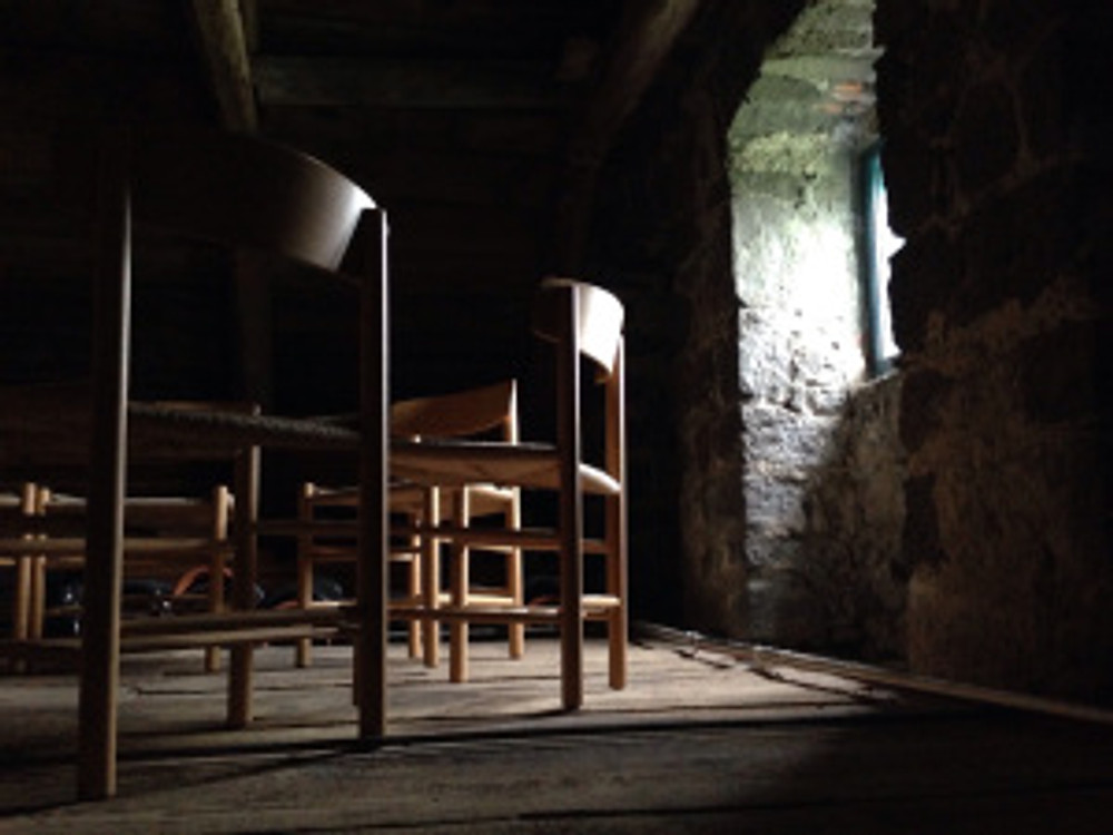 chairs in the church attic set up for a Healing Circle