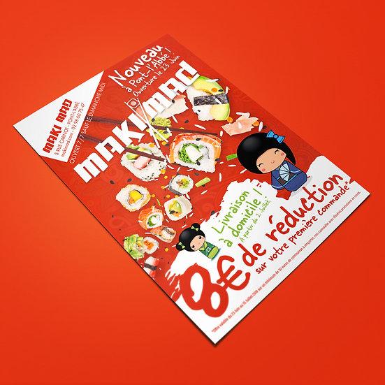 Flyer A5 de promotion pour l'ouverture du magasin MakiMad