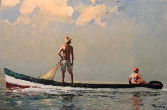 Looking for Bait, 24 x 36, Oil