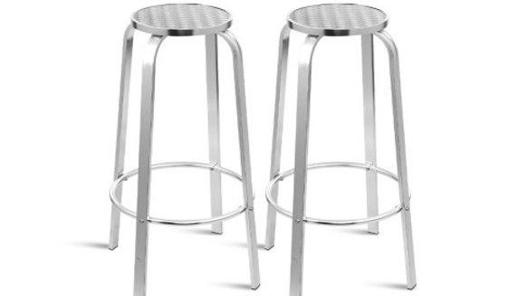 Gardeon Outdoor Bar Stools Patio Furniture Indoor Bistro Kitchen Aluminum x2
