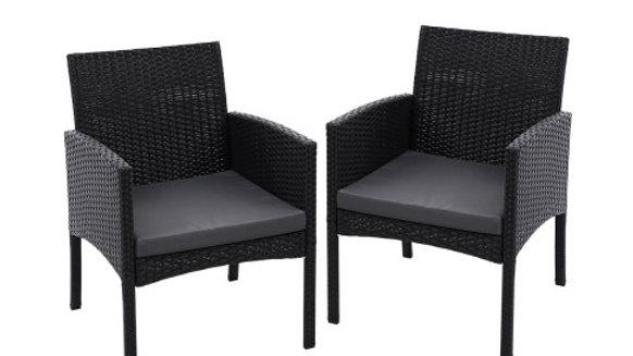 Outdoor Bistro Chairs Patio Furniture Dining Chair Wicker Garden Cushion Gardeon