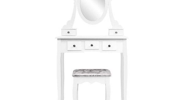 Artiss Dressing Table Stool Set Mirror Drawers Makeup Cabinet Storage Desk White
