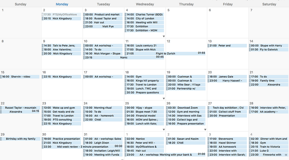 Will's Schedule