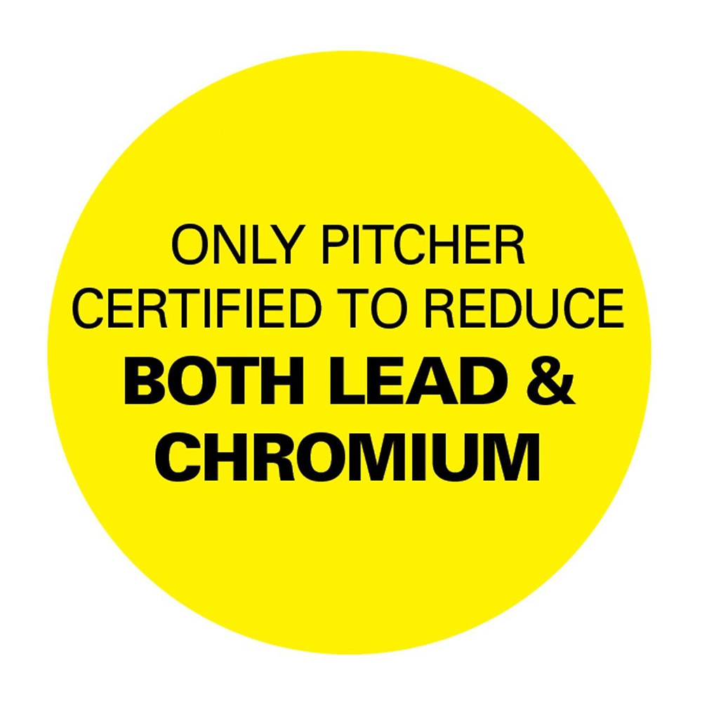Only pitcher certified to reduce both lead and chromium