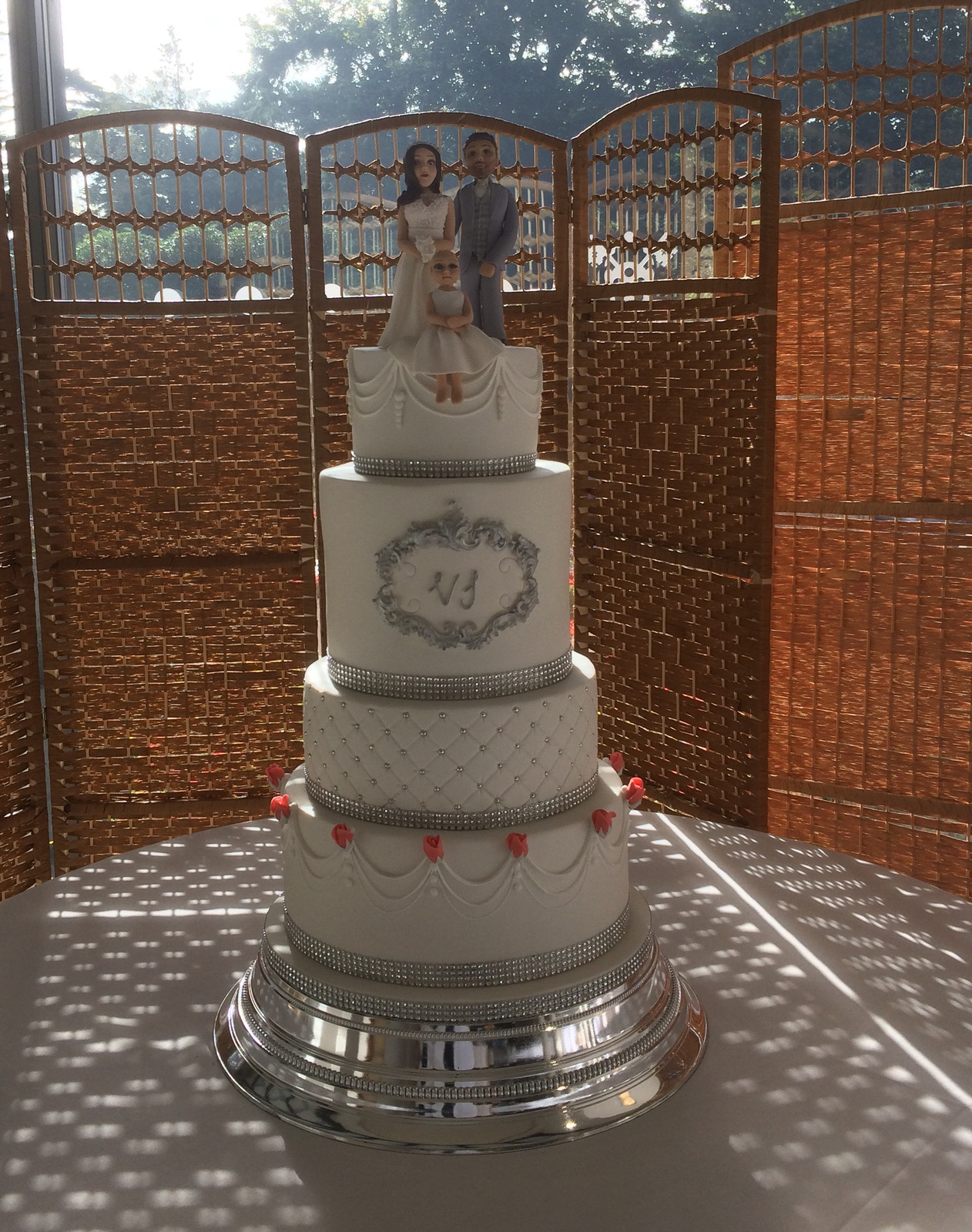 wedding cakes poole bournemouth four tier white and silver wedding cake cakes poole 25296