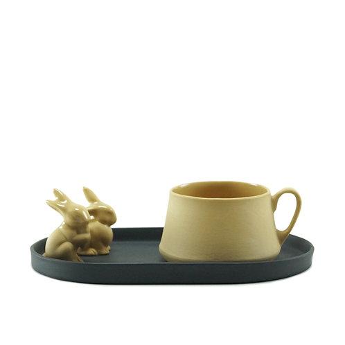 Black & Mustard Rabbit Çay&Kahve Seti