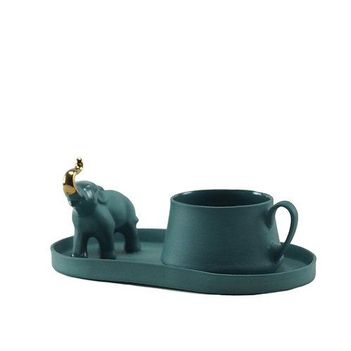 Teal Altın Fil Detaylı Çay&Kahve Seti