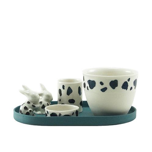 White & Teal Rabbit - Kahve&Süt Seti