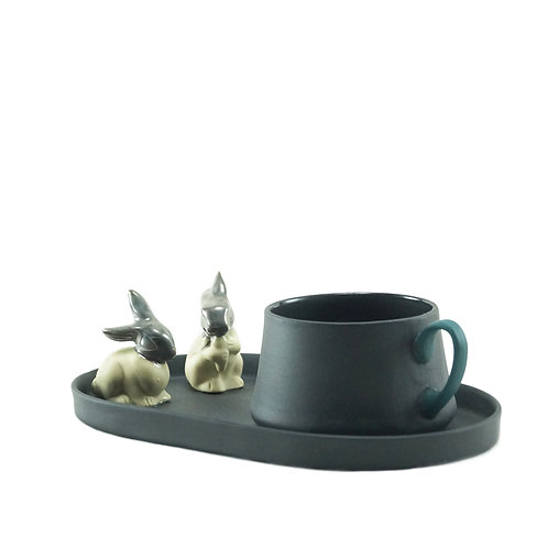 Black & Teal Silver Rabbit - Çay&Kahve Seti