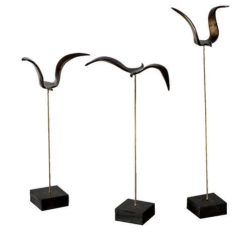 Kaideli Bronz Kuşlar - Üçlü Set