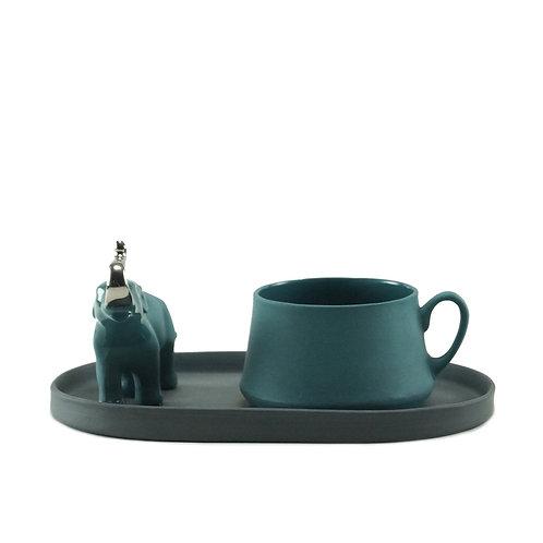 Black & Teal Gümüş Fil Detaylı Çay&Kahve Seti