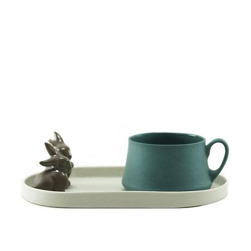 White & Teal Rabbit - Çay&Kahve Seti