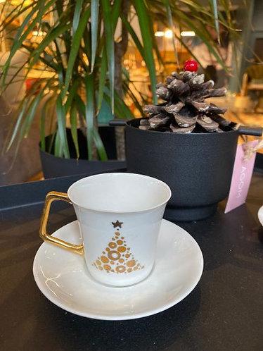 Türk Kahvesi Fincan Seti / Çam Ağacı Beyaz Gold