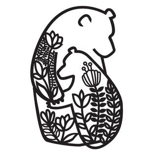 Mumma bear design for laser engraving