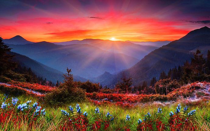 Mountain Sunset Wide Desktop Background.