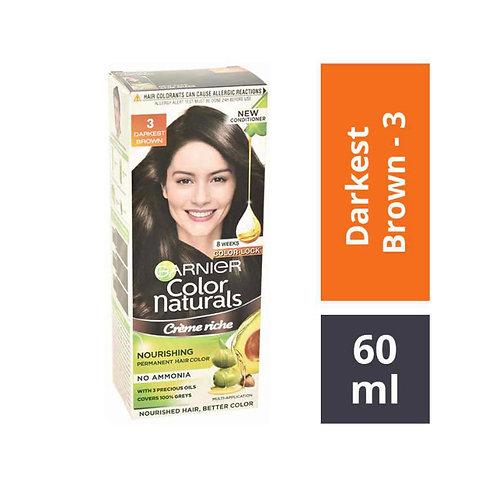 Garnier Colour Naturals 3 Darkest Brown Hair Colour-60ml+50gm:1 unit