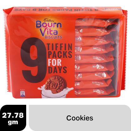 Cadbury Bournvita Chocolate Biscuits Tiffin Pack (For 9 day) 250 g