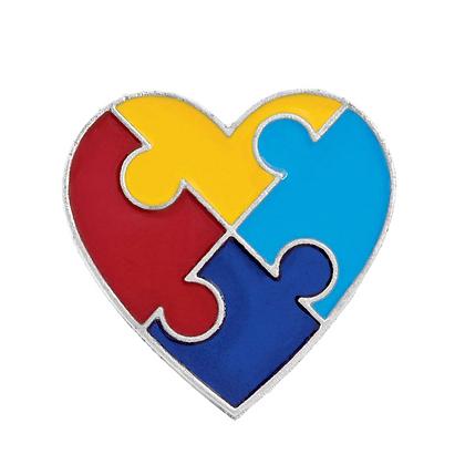 Autism Awareness Heart Pin
