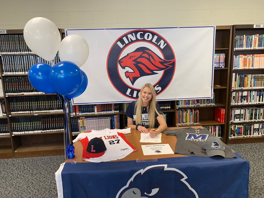 Photo of Lincoln's Riley Riendeau, who recently committed to Monmouth University for softball. This picture is on Lincoln High School's athletic account (LHSRI_Athletics)