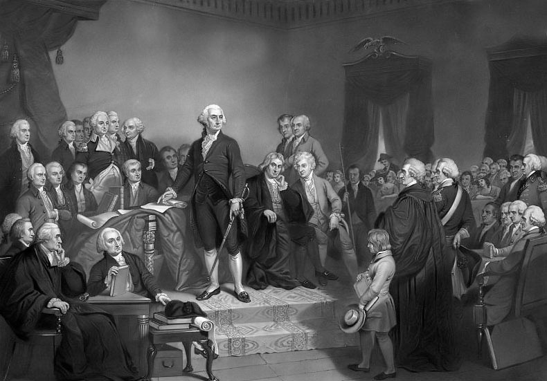 Washington's Inaugural Address 1789.  T.H. Matteson (painting); H.S. Sadd (engraving) inauguration.  Library of Congress