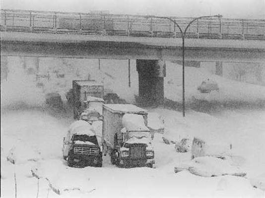 Route 95 in Providence during the blizzard. Photo courtesy of blizzardof78.org
