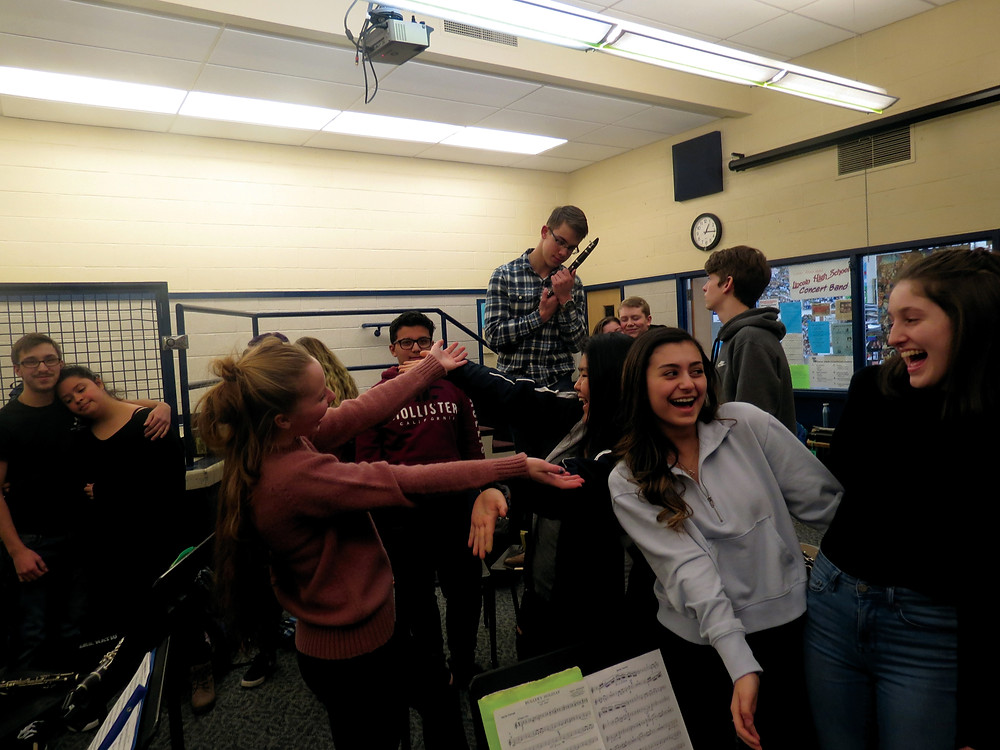 The LHS band feels the love, in many forms.  Photo: Avery Potemri