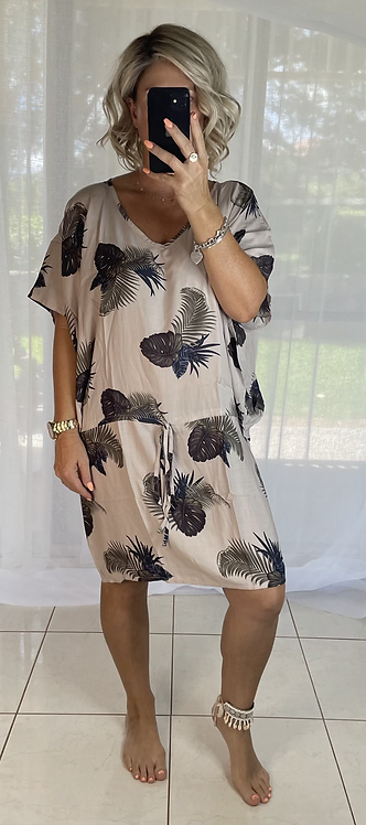 Peppa Batwing Dress - Tropical Beige